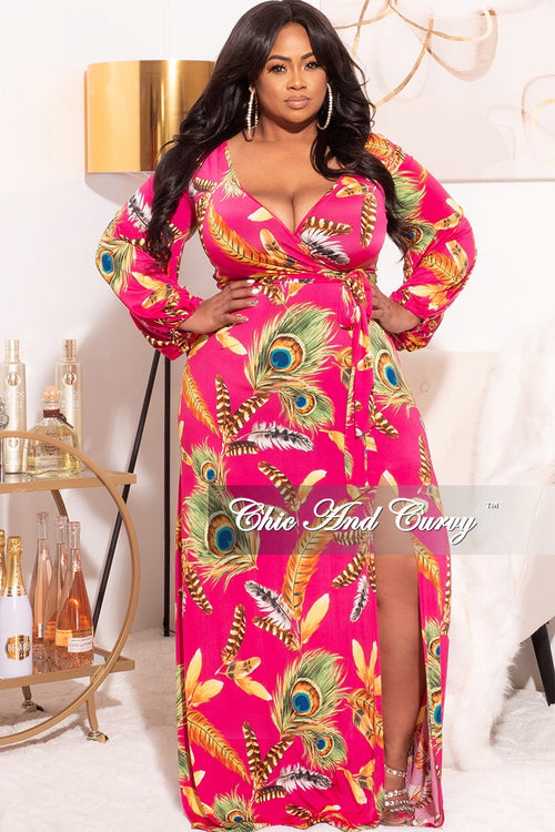 Final Sale Plus Size Faux Wrap Dress With Tie and Side Slit in Fuchsia Tropical Print