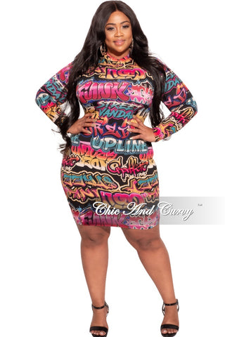 Final Sale Plus Size Faux Wrap BodyCon Dress with Double Slit in Gold Snake Print