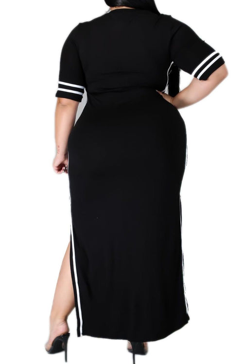 Final Sale Plus Size BodyCon Dress with Side Slits and White Trim in Black