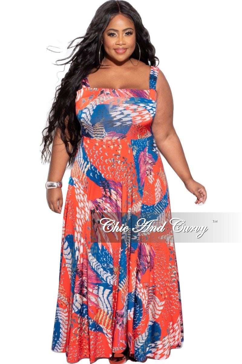 Final Sale Plus Size Split Front Maxi Dress in Blue Red & White Design Print