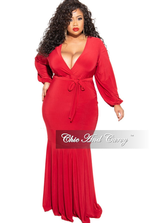 Final Sale Plus Size Balloon Sleeve with Tie Dress in Red
