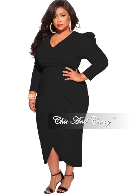 *Final Sale Plus Size Ruched Centered Overlay Tulip Dress in Black
