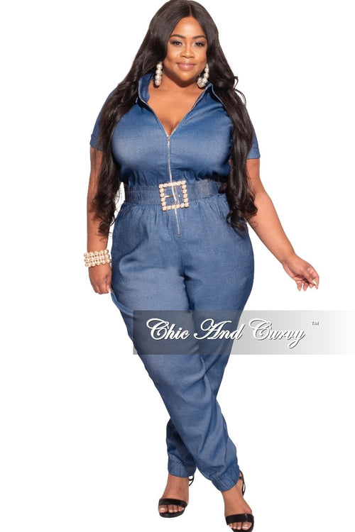Final Sale Plus Size Zip Pocket Jumpsuit in Denim