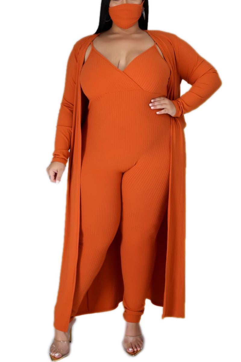 New Plus Size 2-Piece Ribbed Duster & Spaghetti Strap Jumpsuit Set in Orange