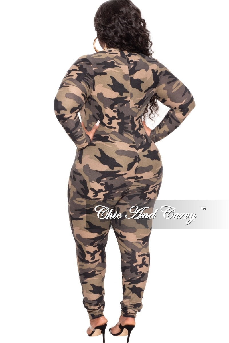 Final Sale Plus Size Distressed Jumpsuit in Camouflage