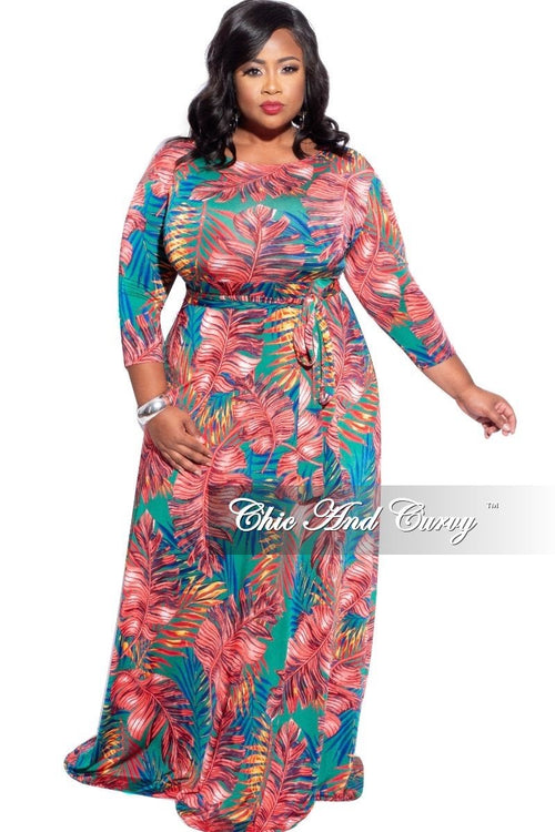 New Plus Size 3/4 Sleeve Pocket Tie Maxi in Red, Blue, & Green Palm Print
