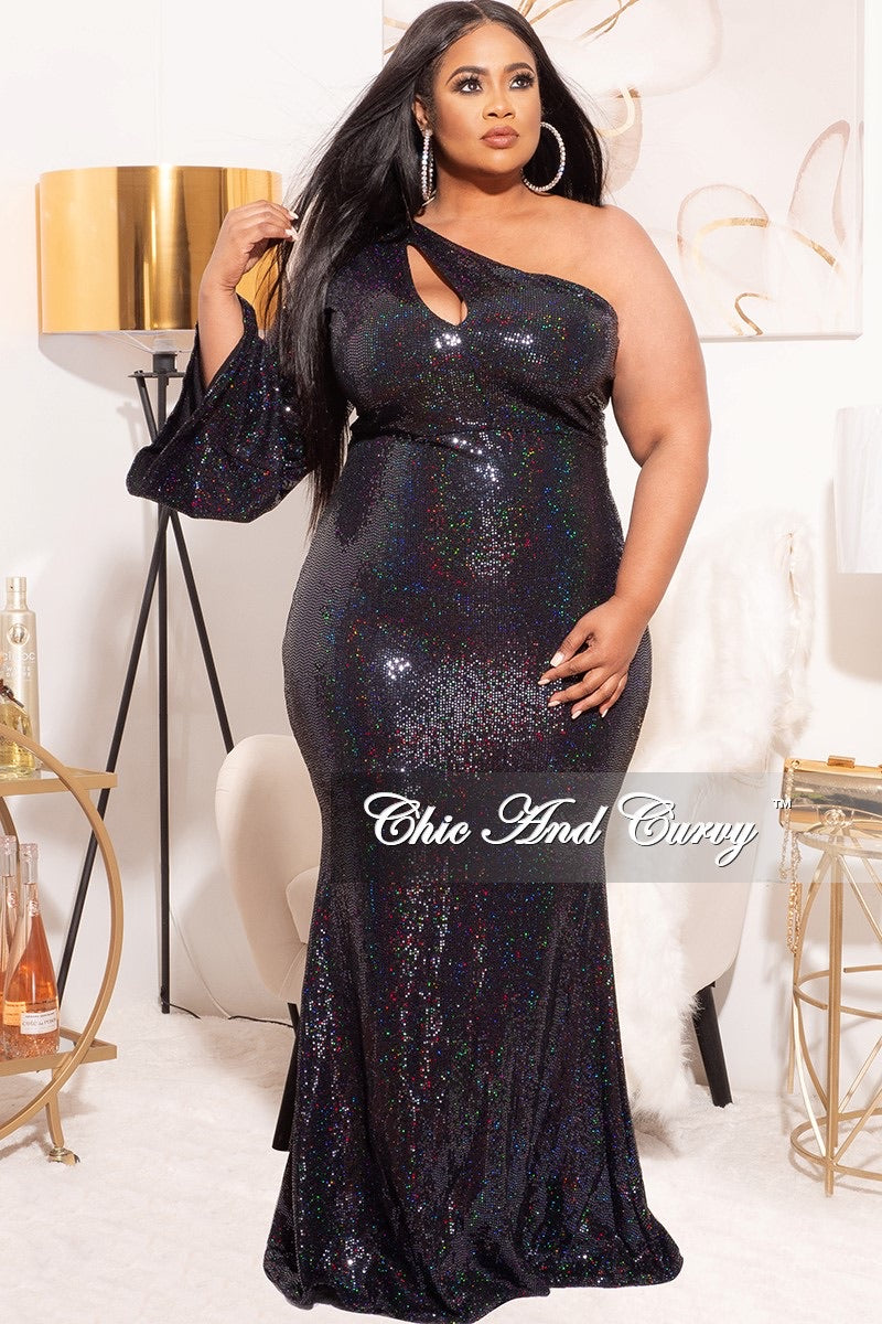 *Final Sale Plus Size Faux Sequin Long Sleeve Cut Out Gown in Iridescent Black