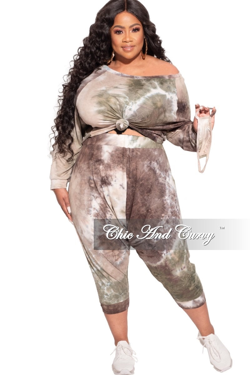 *Final Sale Plus Size 2-Piece Harem Pants Set in Olive Tie Dye Love