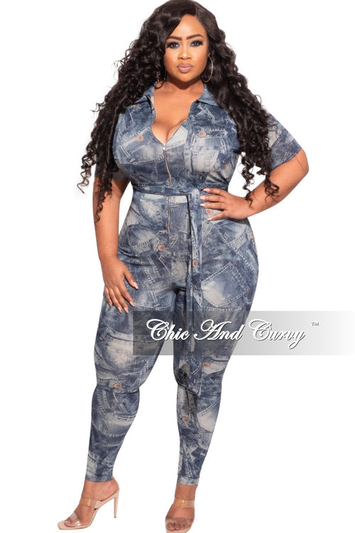 New Plus Size Zip Tie Jumpsuit in Faux Denim Print