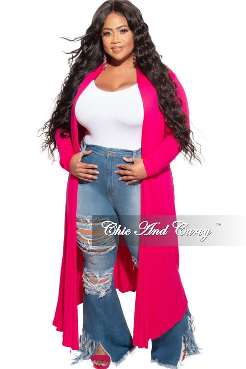 New Plus Size Duster in Fuchsia