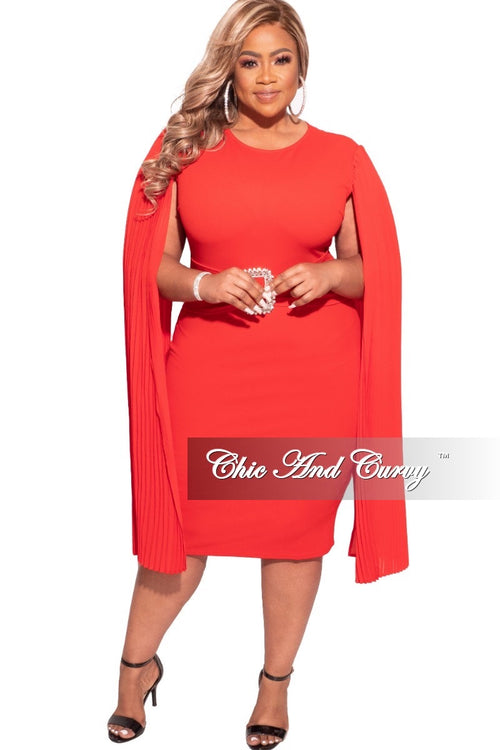 Final Sale Plus Size Dress with Cape Sleeves and Attached Bling Belt in Red
