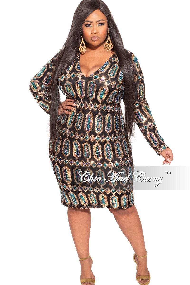 Final Sale Plus Size Sequin BodyCon Dress with Gold Diamond Design