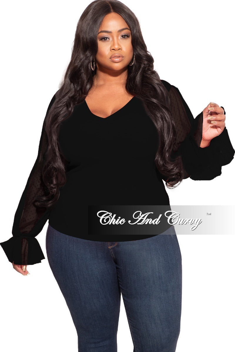 Final Sale Plus Size Tunic with Mesh Sleeves in Black