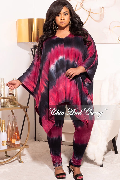 Final Sale Plus Size 2pc Set in Dark Tie Dye Print