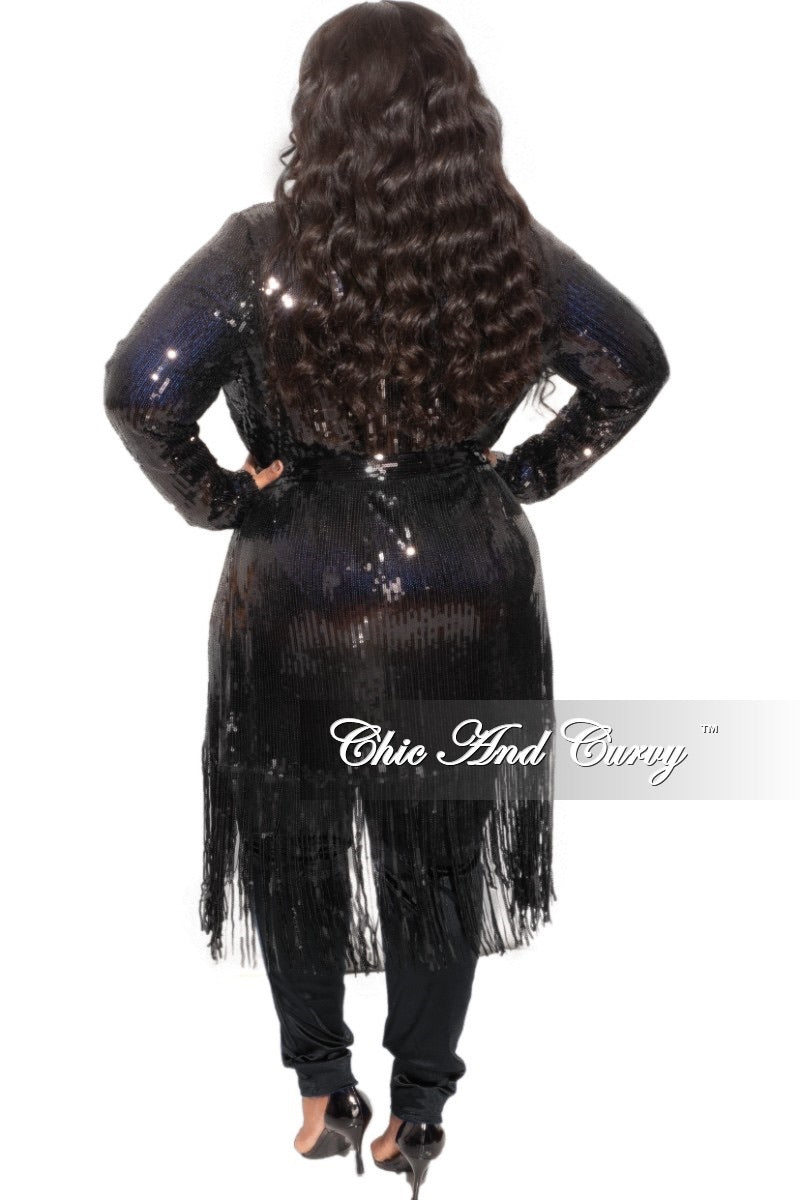 Final Sale Plus Size Faux Sequin Duster with Belt in Black