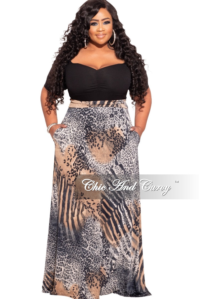 New Plus Size Long Maxi Skirt in Brown, Grey, &  Black Animal Print With Gold Foil