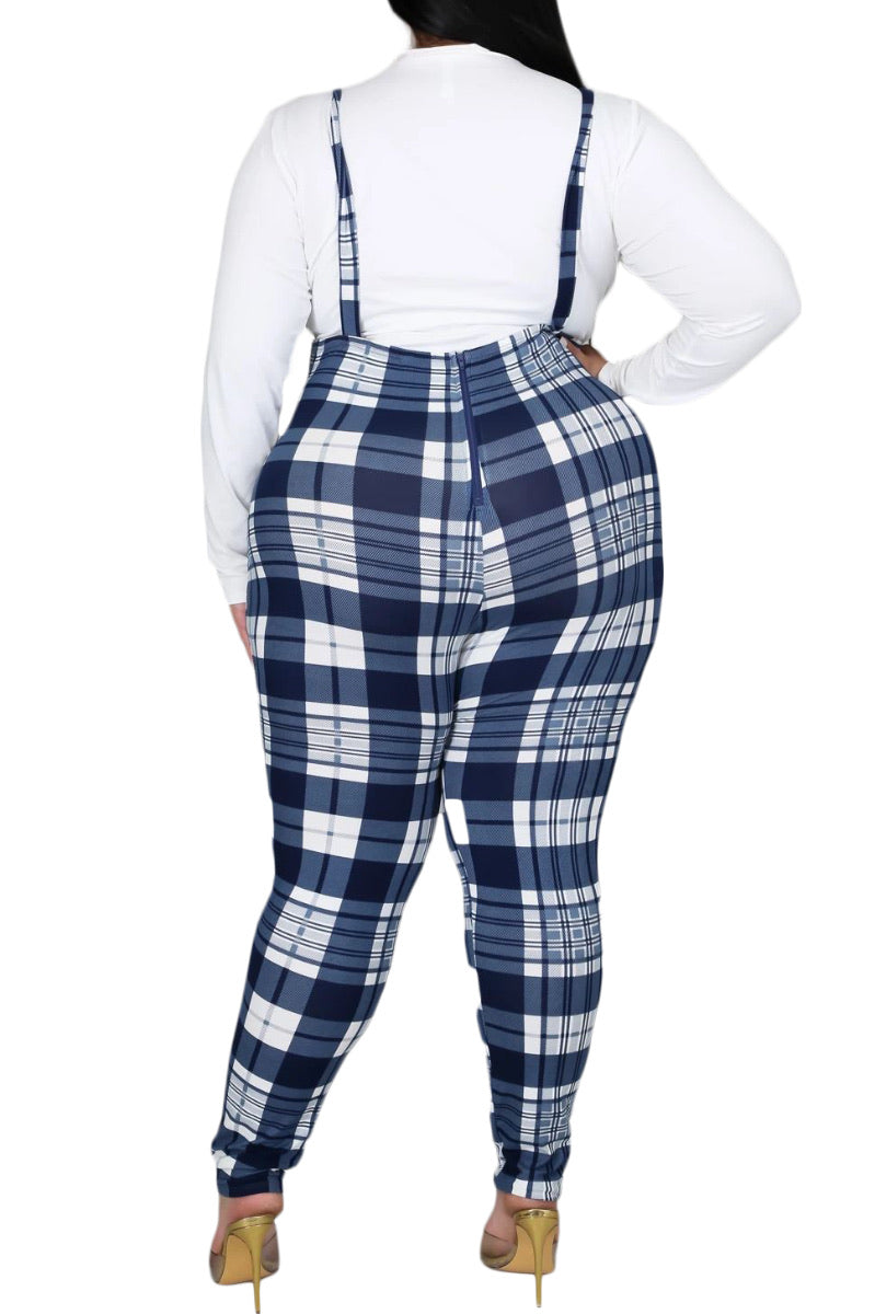 Final Sale Plus Size Set with White Top & Plaid Overalls in Blue/White