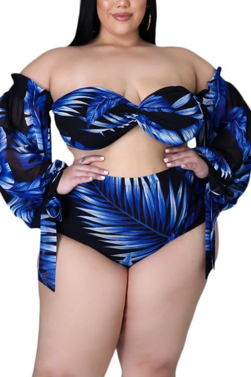 Final Sale Plus Size 3-pc Playsuit in Royal Blue Tropical Palm Print