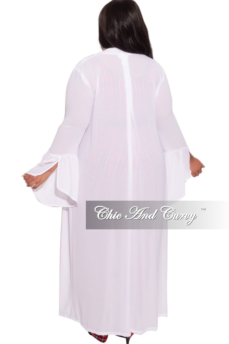 *Final Sale Plus Size Sheer Chiffon White Duster