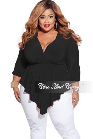 Final Sale Plus Size Sleeveless Faux Wrap Bodysuit in Black