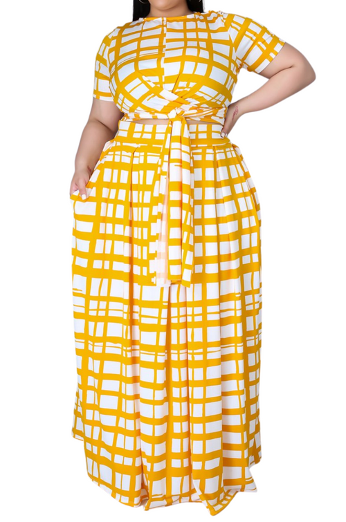 Final Sale Size 2pc Tie Top Maxi Skirt Set in Mustard/Off Line Print