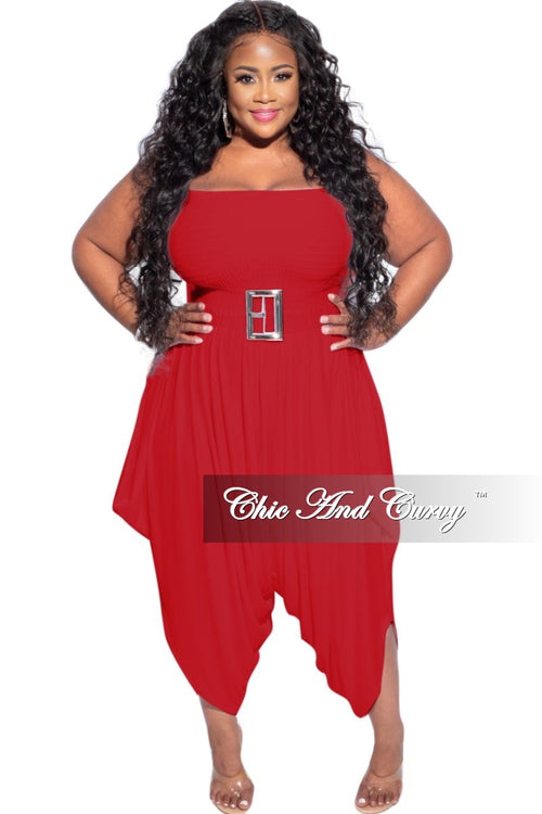 New Plus Size Strapless Smocked Harem Jumpsuit in Red