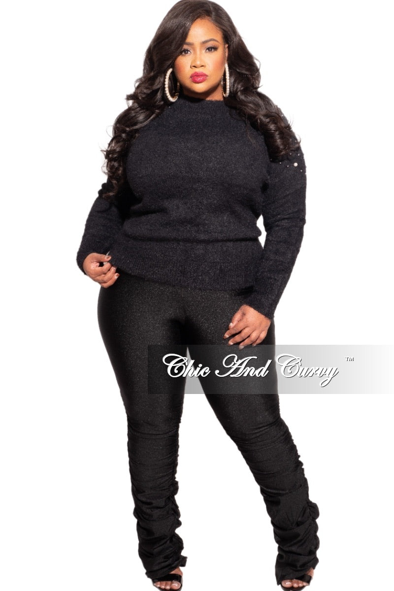 Final Sale Plus Size Black Sweater with Pearl Detailed Sleeves