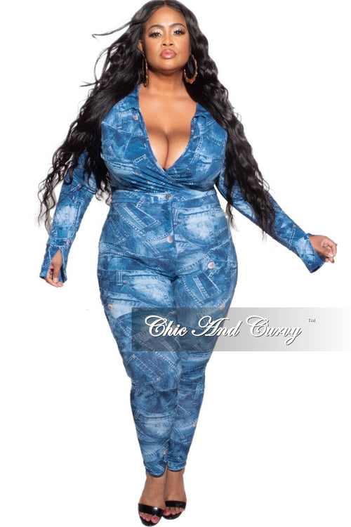 New Plus Size 2pc (Bodysuit & Pants) Set in Faux Denim Button Print