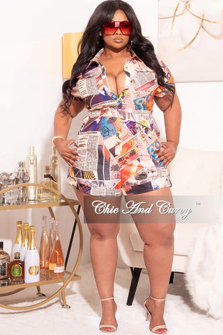 Final Sale Plus Size Chiffon Romper in Animal Print