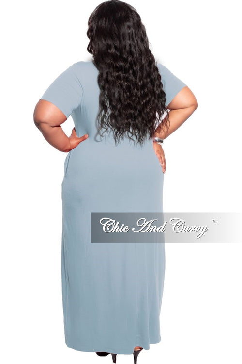 New Plus Size Short Sleeve Pocket Maxi Dress in Grey Blue