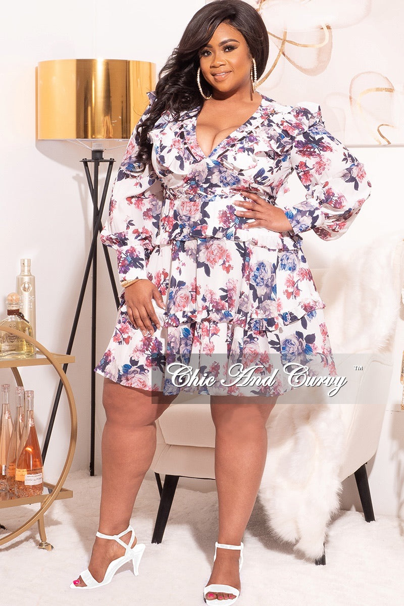 Final Sale Plus Size Chiffon Babydoll Dress in Blue and Pink Floral Print with Open Back