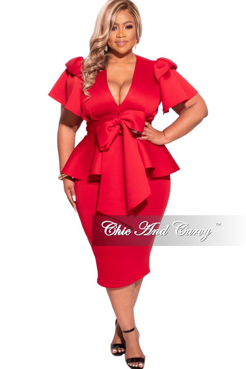 Final Sale Plus Size 2-pc Scuba Skirt Set in Red