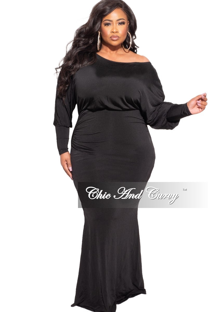Final Sale Plus Size Off The Shoulder Maxi Dress in Black