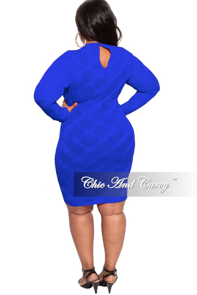 *Deal of the Day Final Sale Plus Size Sheer Bodycon Dress in Royal Blue