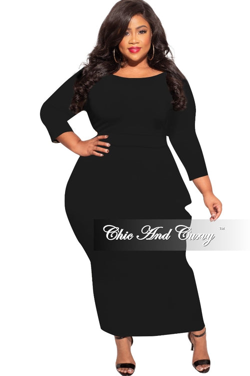 *Final Sale Plus Size Dress with Harem Effect in Black