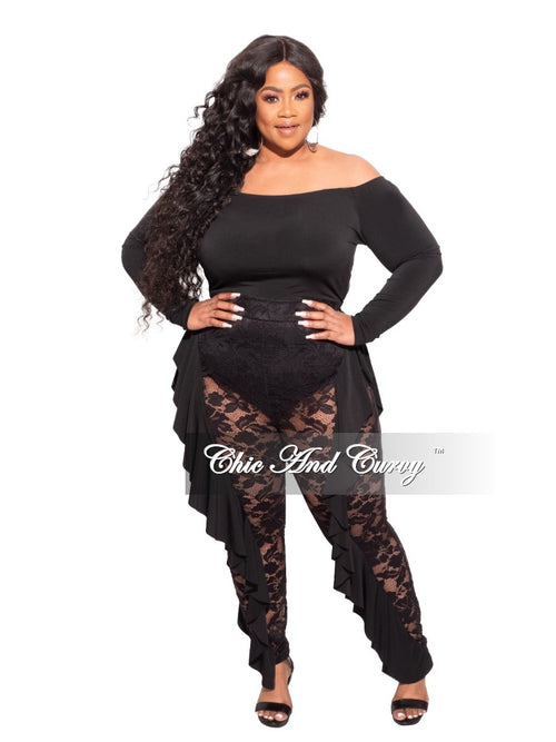 Final Sale Plus Size Long Sleeve Off The Shoulder Jumpsuit in Black Lace
