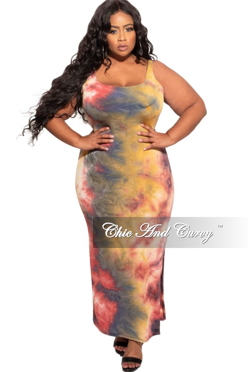 New Plus Size Tank Maxi in Mustard, Wine, and Navy Tie Dye