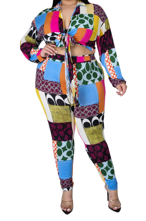 Final Sale Plus Size 2pc Multi-Colorblock Print Tie Top & Pants