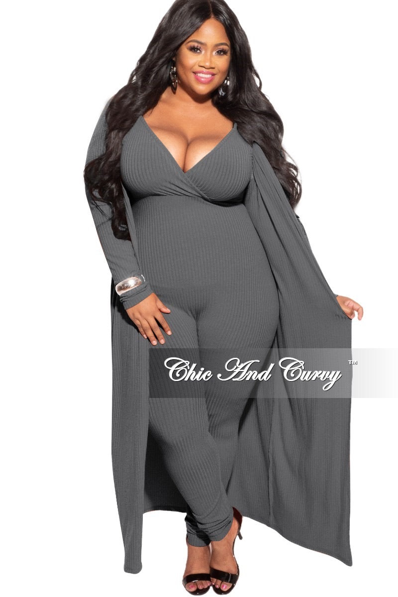 Final Sale Plus Size 2-Piece Duster and Jumpsuit Set in Grey