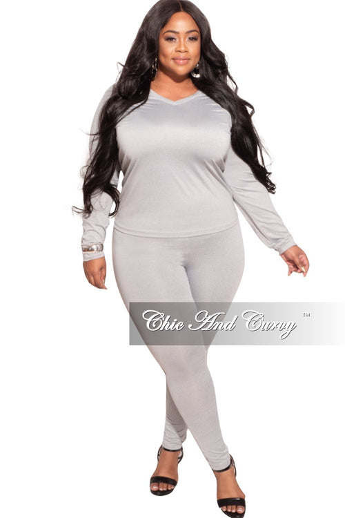 *Final Sale Plus Size 2-Pc  Legging Set in Grey