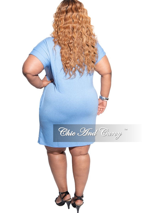 New Plus Size Rolled Sleeve Dress in Spring Blue