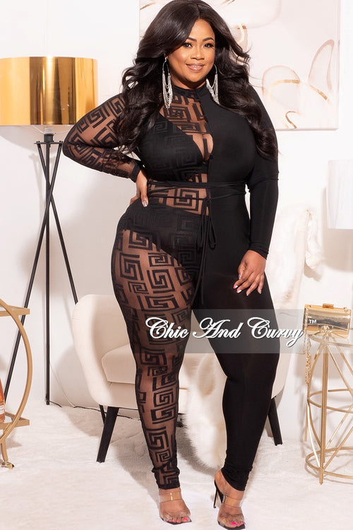 Final Sale Plus Size Half & Half Mesh Jumpsuit in Black