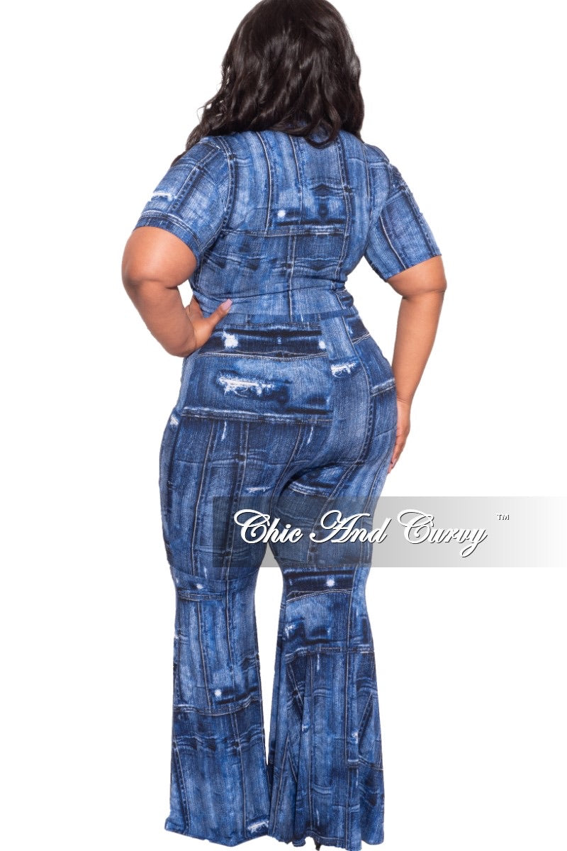 Final Sale Plus Size 2-pc Crop Set in Denim Print