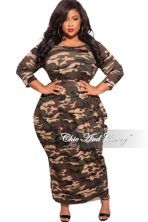 *Final Sale Plus Size Dress with Harem Effect in Camouflage