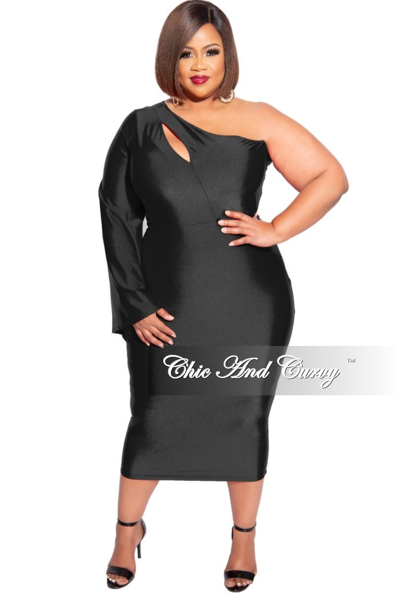 Final Sale Plus Size Shimmer One Bell Sleeve BodyCon Dress in Black