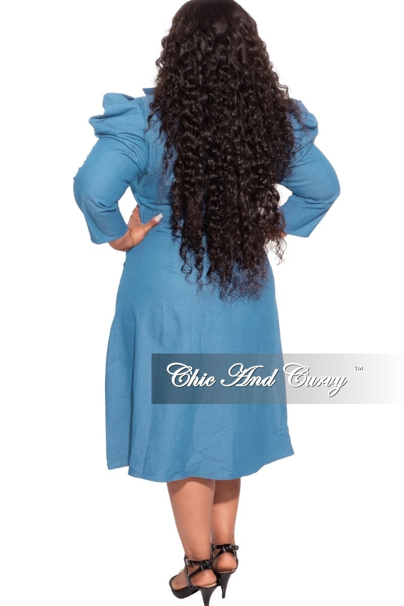 *Final Sale Plus Size Faux Light Denim Dress with Puff Sleeves