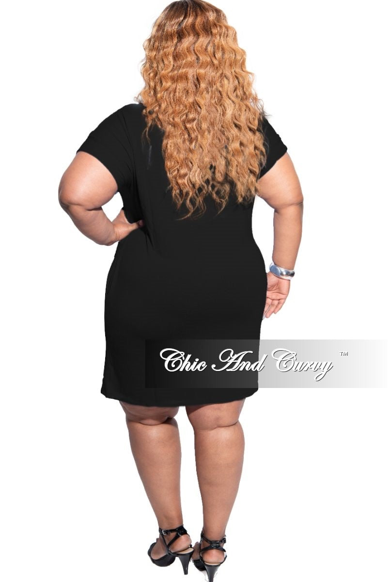 New Plus Size Rolled Sleeve Dress in Black