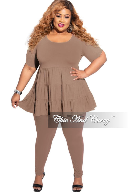 New Plus Size 2-Piece Short Sleeve 3 Tiered Baby Doll Top and Leggings Set in Mocha