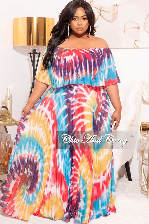 Final Sale Plus Size Off The Shoulder Maxi Dress in Red /Purple Multi Tie Dye