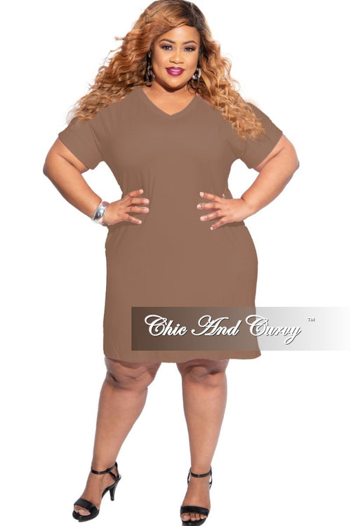 New Plus Size Rolled Sleeve V-Neck Dress in Mocha
